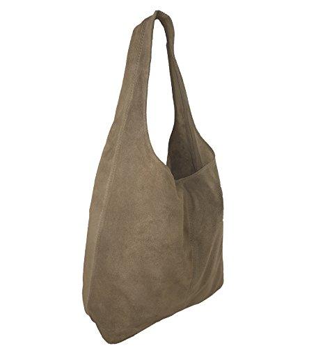 8ceb86d2044d6c Damen Ledertasche Shopper Wildleder Handtasche Schultertasche Beuteltasche  Metallic look Taupe