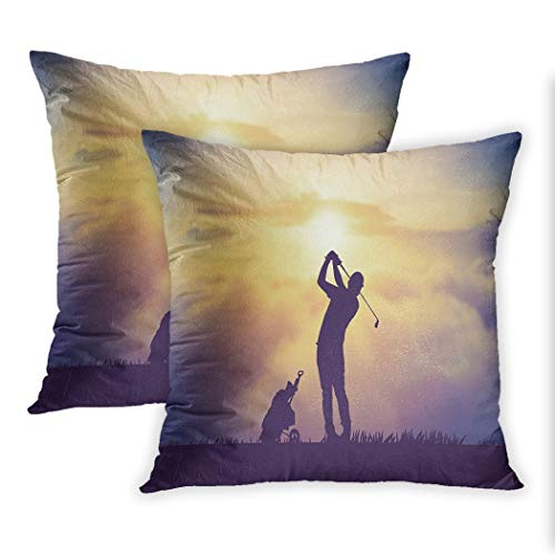 Nekkzi Cushion Covers Set of Two Print Silhouette of Golfers Hit Sweeping and Keep Golf Course in The Summer for Relax Time Sofa Home Decorative Throw Pillow Cover 16x16 Inch Pillowcase Hidden Zipper -
