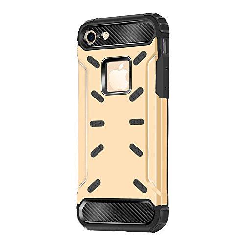 """iPhone 6S Housse , SHANGRUN Hybrid Defender Aluminium Métal + Fibres de Carbone Resilient Souple TPU Antichoc Case Etui Housse pour iPhone 6 / 6S 4.7"""" Or Or"""