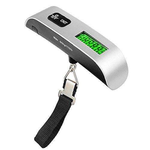 YCANK Personenwaage, digital, tragbar, LCD, elektronisch, zum Aufhängen, 50 kg / 10 g -