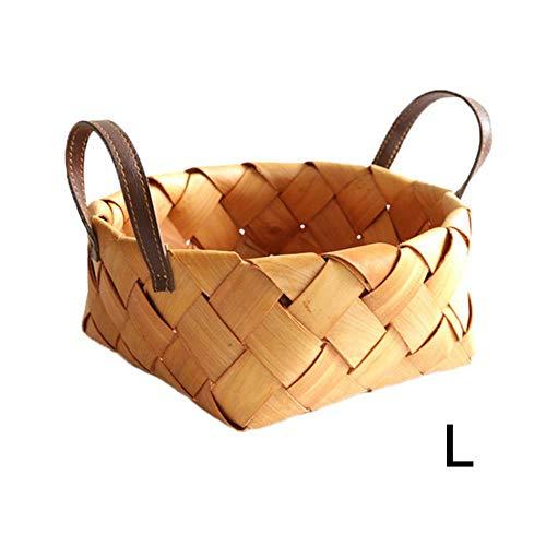 Ablerfly Korb aus Holz, rund, für Brot und Obst, handgewebt, mit tragbarem Aufbewahrungskorb, grün, natürlich und modisch für die Aufbewahrung zu Hause, etc, Farbe, Large (Aus Holz Obst Korb)