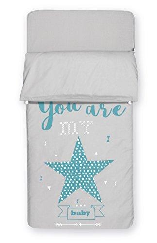Pirulos 33031803    Saco nórdico, diseño all my star, algodón, 62 x 125 cm, color azul