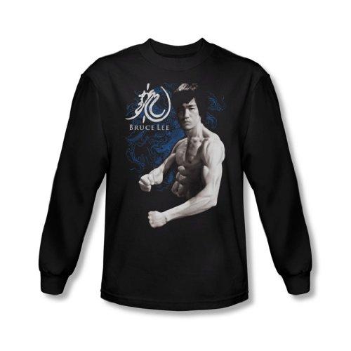 Bruce Lee Dragon Stance, da uomo, maglietta a manica lunga, colore: nero nero Large