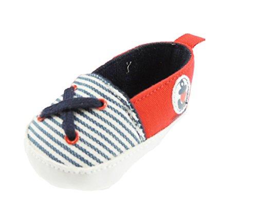 Mädchen Jungen Baby Walker Pre Marine Streifen Canvas Sportschuhe Anker-Stickerei Blau - Navy