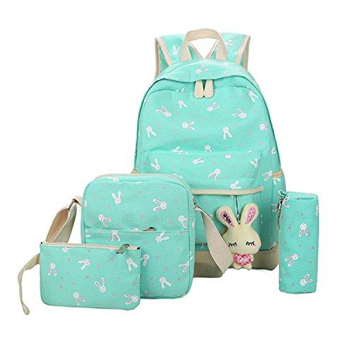 Imagen de  escolares  niños niñas adolescentes  escolar + bolsa de hombro + billetera + bolso de pluma verde
