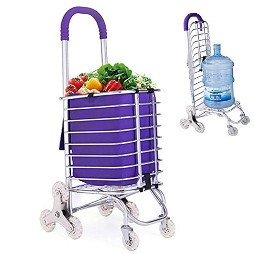 Acyon Einkaufstrolley Faltbarer Tragbarer Einkaufswagen-Aluminiumeinkaufswagen-Laufkatzen-Wagen-8 Rad-Kletternde Treppe-Zusammenklappbares,Lila