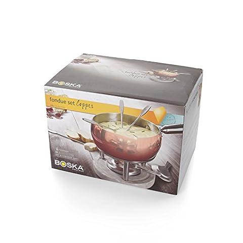 Boska Copper/Stainless Steel/Concrete Cheese Fondue Set,