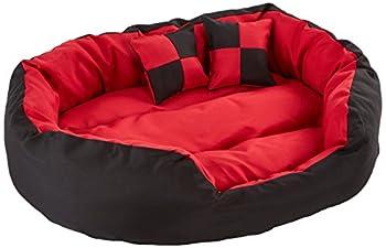 dibea Lit/Coussin/Canapé Lavable avec Coussin Réversible pour Chien Rouge/Noir 85 x 70 x 20 cm