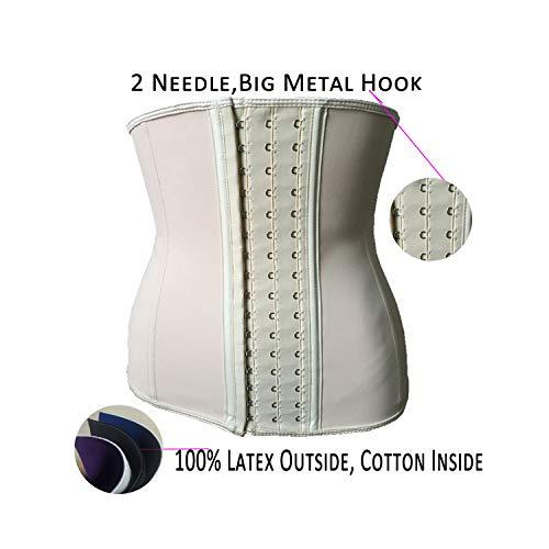 Cincher-Steuerung, Latex Waist Trainer Plus Size Corset Slim Shaper 9 Steel Bone Corset Girdle Women Waist Belt Modeling Strap Shapewear Beige XS -
