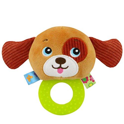 YeahiBaby Plüsch Greiflinge mit Rasseln, Plüschtier Pädagogisches Rassel Spielzeug für Kleinkinder Baby (Hund)