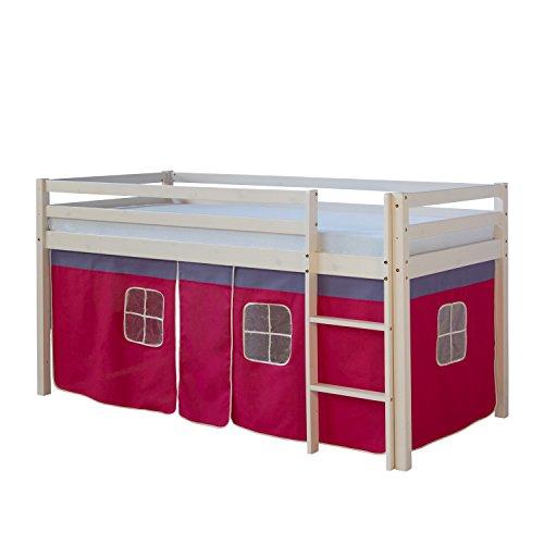 Homestyle4u Hochbett Kinderbett Spielbett Kinderhochbett weiß mit Vorhang