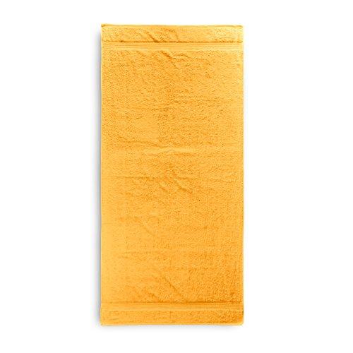 Lumaland Premium Saunatuch Strandtuch 90 x 200 cm 100% Baumwolle 550 g/m² komfortables Handtuch für Damen und Herren gelb