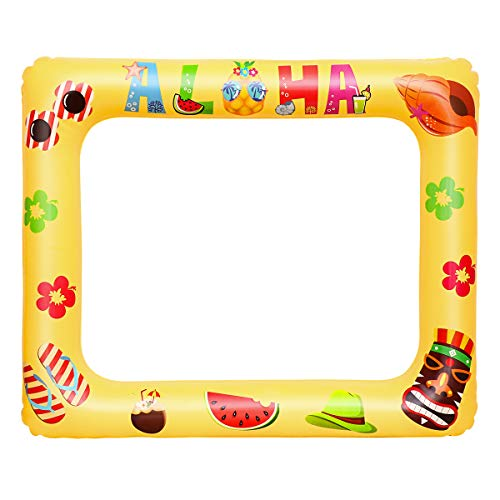 Amosfun Aufblasbare Selfie Rahmen Hawaii Aloha Party Photo Booth Requisiten Explosion Selfie Bilderrahmen Sommer Party Supplies für Geburtstag Pool Party Supplies
