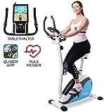 Miweba Sports Ergometer ME400 Trimmrad Cardio Heimtrainer - App Steuerung - 12 Kg Schwungmasse - Pulsgurt - Magnetbremse - LCD Display (Weiß Blau)
