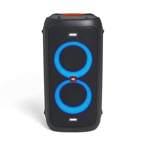 JBL PartyBox 300 in Schwarz, Tragbarer Bluetooth Party-Lautsprecher mit Lichteffekten, Spritzwassergeschützte, mobile Musikbox mit Akku