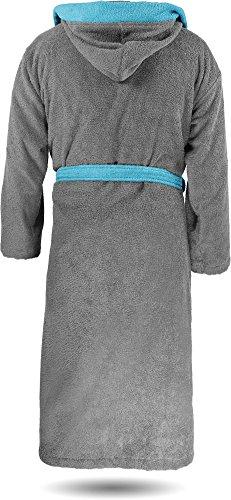Baumwoll Bademantel Saunamantel zweifarbig mit Kapuze für Damen und Herren [Gr. XS - 3XL] Grau/Blau