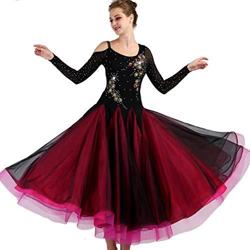 Wettbewerb Tanzkleidung für Frauen Modern Walzer Tango Glatte Ballsaal Tanz Kleid Rückenfrei Standard-Ballkleid Für Leistung, - Stoff Für Ballsaal Tanz Kostüm