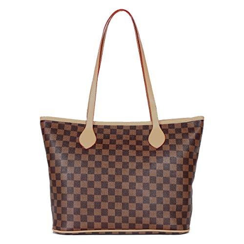 SDINAZ Damenhandtaschen Mode große Vintage Schultertaschen Shopper Umhängetaschen Braun