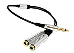 SNDIA 3.5mm Stereo Jack Y Splitter Cable | 3.5mm Male to 2 x 3.5mm Female jack splitter Gold Plated (SILVER)