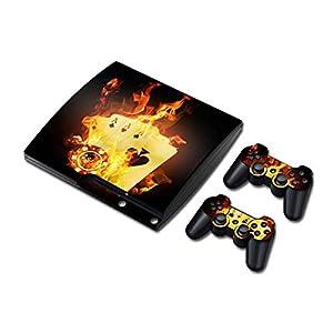 Sony PS3 Playstation 3 Slim Skin Design Foils Aufkleber Schutzfolie Set – Burning Cards Motiv