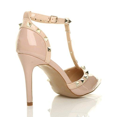 scarpe donna CONTRASTO BORCHIATO T-Bar a Punta décolleté sandali taglia nudo rosa verniciata