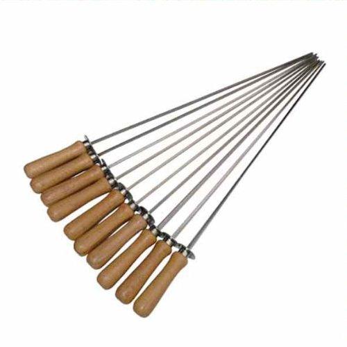 10 Stück Grillspieße aus Edelstahl (Skewer) mit Holzgriff - 45 cm