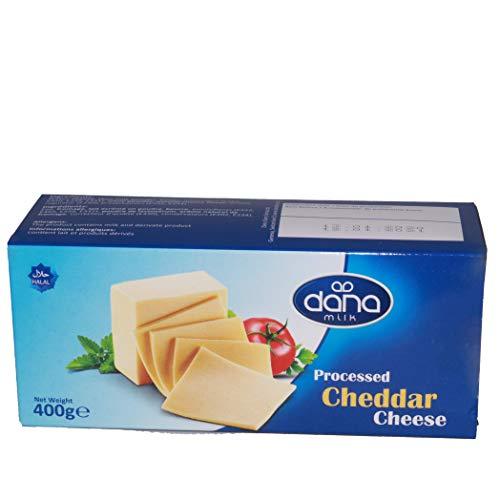 Dana Cheddar Schmelzkäse Block 400g Käse zum kochen für Fondue, Pasta, Burger, Pizza, Auflauf, Soßen, Dips, lange haltbar