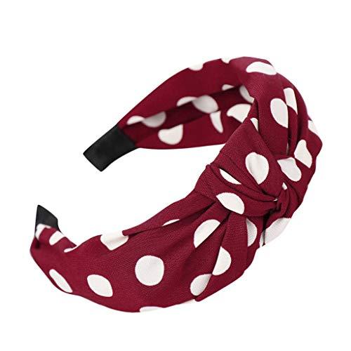 LUGOW Damen Stirnbänder Bow Knot Dot Haarband Hoop Süße Mädchen Haarband Accessoires Turban Headwraps Kopftuch Stirnband Schweißableitendes Haarschmuck Haargummis Haarreife(Rot)