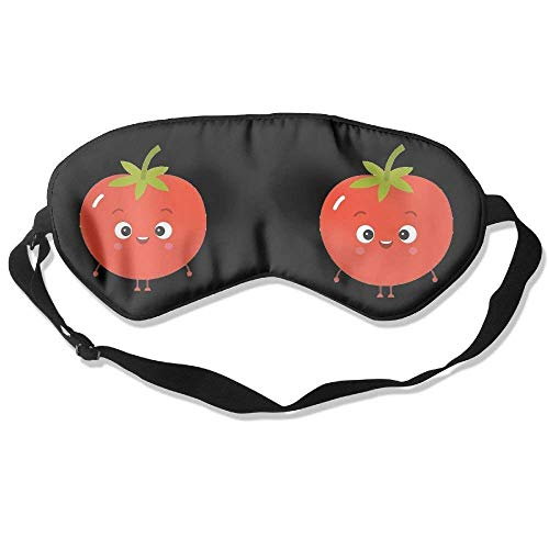 100% Mulberry Silk Sleep Mask for A Full Night's Sleep, Comfortable and Super Soft Eye Mask with Adjustable Strap, Blindfold, Blocks Light, Cute Tomato Cartoon -