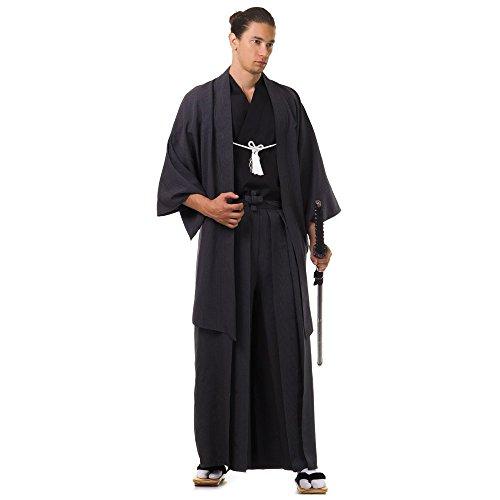 Japan Samurai Kimono Set 3 Teile Kendo Gi + Hakama + Haori Baumwolle M L XL (Schwarz)