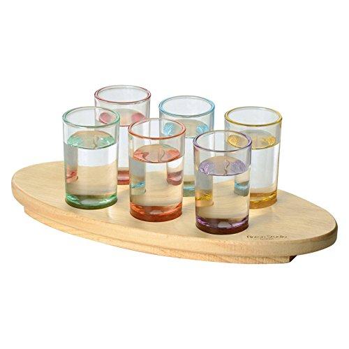 Anton Studio Designs-Set di 6 bicchierini per Shot Salute ovale, motivo floreale, multicolore, Set da 7