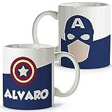 Taza Superhéroes Personalizada con Nombre | Regalo Friki | Varios Diseños y Colores Interior | Capitán América