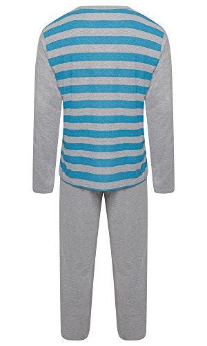 Herren Nachtwäsche PJ Pyjama Satz Lange Ärmel Schlafanzug Nacht Tragen 100% Baumwolle Marl Grey / Light Blue Stripes