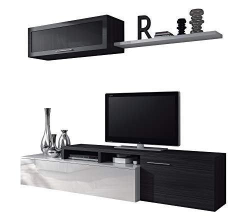 Dalì parete attrezzata soggiorno salotto, mobile sala da pranzo in legno, parete attrezzata mobile tv, bianco e grigio cenere