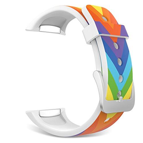 MoKo Samsung Watch Bracciale, Morbido Cinturino Sportivo di Ricambio in Silicone per Samsung Galaxy Gear S2 Smart Watch, Arcobaleno Strisce V (Non adatto a Gear S2 Classic SM-7320 Versione)