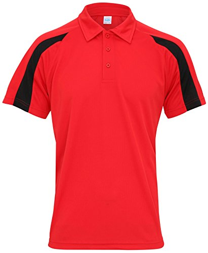JC043 Contrast Cool Polo T-Shirt Polo Shirt Fire Red-Jet Black