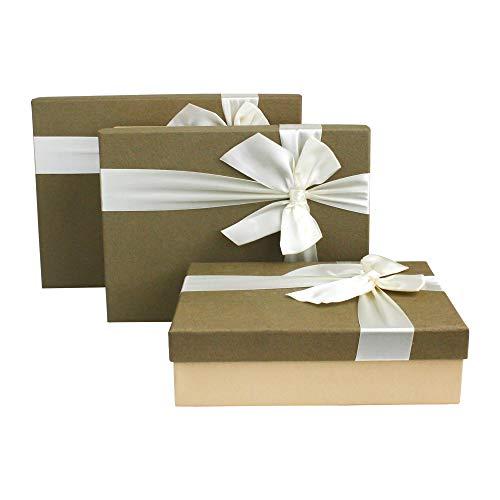 Emartbuy Set Von 3 Starre Luxus Rechteck Geformt Präsentations-Geschenkbox, Dunkle Creme Strukturierte Box mit Khaki-Deckel, Rosa Innenraum und Satin Dekoratives Band -