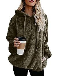 ISSHE Kapuzenpullover Damen Teddy Fleece Dicke Pullover Zip Hoodie Pulli  Sweatshirt Fleecepullover Oversized Hoodies für Damen ffad09abef