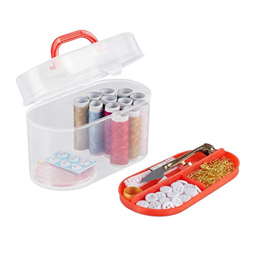 Relaxdays Nähset, ca. 300 Teile, mit Nähbox, gefüllt mit Nadeln, Garn, Knöpfe, Maßband, HBT 9,5x15x8,5 cm, transparent