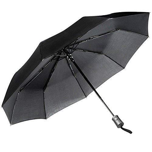 JEOutdoors Reise Regenschirm mit 10 Rippen Winddicht Regenschirm Auto auf/aus mit Teflon-Beschichtung