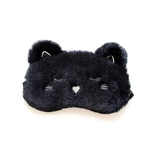Ruiting Plüsch-Augenmaske Cover Black Cat Weiche Reiseschlafmaske Blindfold Einstellbare Flugzeug eyeshade Blinder