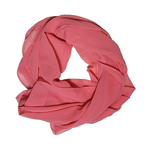 DOLCE ABBRACCIO Damen Schal Stola Halstuch Tuch aus Chiffon für Frühling Sommer Ganzjährig Lachs Rosa
