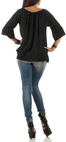 Malito Damen Bluse mit Punkten | Tunika mit ¾ Armen | Blusenshirt mit Rüschen | Elegant