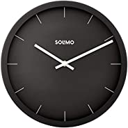 "Amazon Brand - Solimo 12"" Wall Clock - Sheer Black (Silent Movement, Black F"