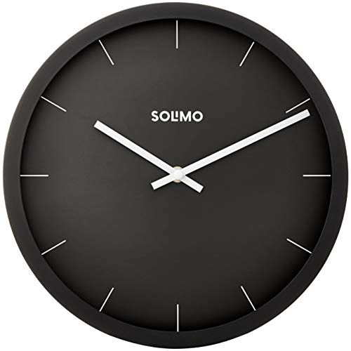 "Amazon Brand - Solimo 12"" Wall Clock - Sheer Black (Silent Movement, Black Frame)"
