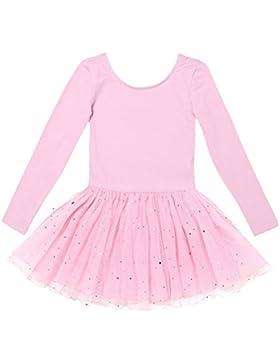 YiZYiF Kinder Mädchen Ballettanzug langarm Ballettkleid Ballett Trikot Turnanzug mit glänzende Rock Tütü in Rosa...