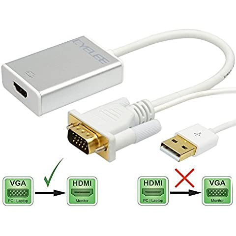 Cyelee Convertitore VGA a HDMI Scaler Adattatore con Audio Risoluzione 1920x1080 per collegare il PC, Notebook, Laptop, Portatile al Proiettore, HDTV, Display,
