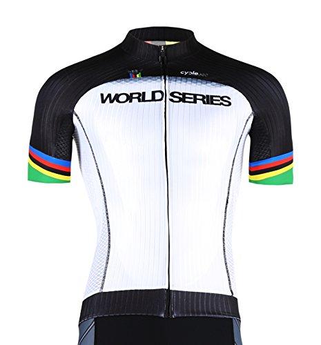 MAILLOT CICLISMO MANGA CORTA  TOPE DE GAMA CYCLE WORLD SERIES COMPETICION  MOD  UCI CICLISTA ATTITUDE PODIUM CAMPEON DEL MUNDO TALLA M