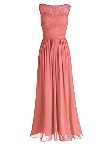 iEFiEL Damen Kleid festliche Kleider elegant Abendkleid Hochzeit Cocktailkleid Chiffon Langes Brautjungfernkleid 34-46 Koralle 34(Herstellergröße: