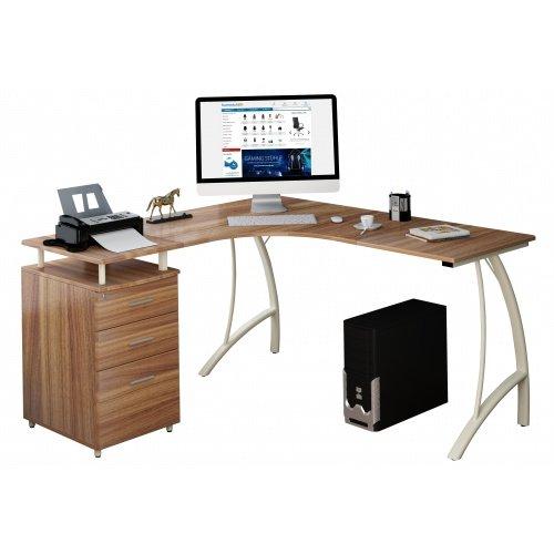 Eck-workstation (hjh OFFICE Computer-Eck-Schreibtisch Castor nussbaum elfenbeiin mit Standcontainer, 151/143 x 76 x 55 cm, Drucker-Podest, robust gefertigt, einfacher Aufbau, PC-Workstation 673420)